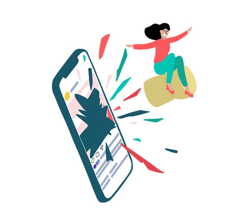 Animation femme sortant d'une publicité réseaux sociaux